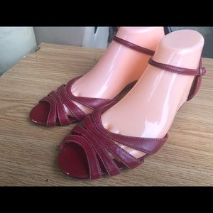 St John Bay Red Patent Ankle Strap Sandals Size 10